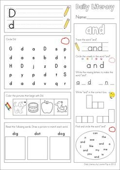 Worksheets Daily Morning Work 1st Grade morning work beginning sounds and literacy on pinterest daily sight words reading so