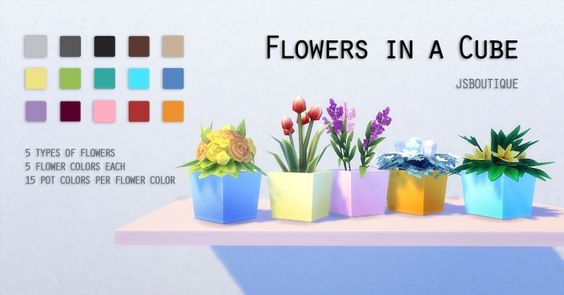 flowers in a cube at jsboutique sims 4 updates sims cc pinterest sims 4 flower and sims. Black Bedroom Furniture Sets. Home Design Ideas