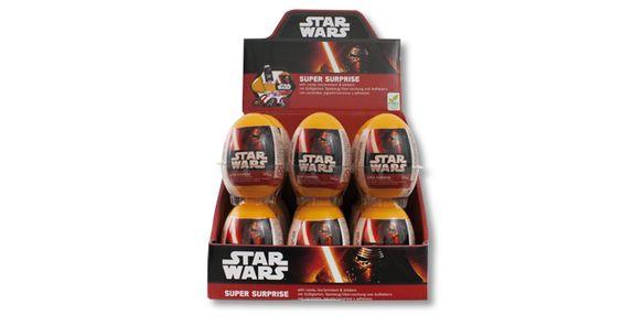 Super Surprise, de Bip Candy & Toys: Huevo de plástico de la licencia Star Wars con 10 gramos de caramelos, pegatinas y un juguete coleccionable.