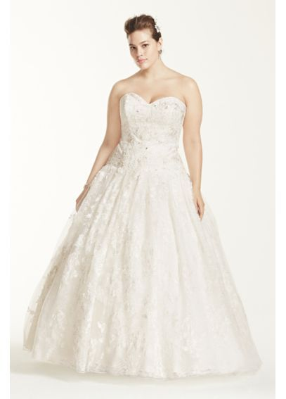 Oleg Cassini Wedding Dress with All Over Lace 8CWG633