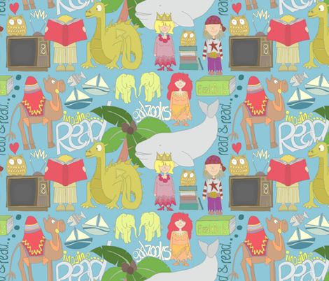 GADZOOKS.... (Television by Roald Dahl) fabric by scrummy on  Spoonflower @Liz Peugh oh my word, i just may faint! I NEED this fabric! Pillows, throws, curtains, anything.... NEED, I tell you! Em should make her book bags out of this!!!