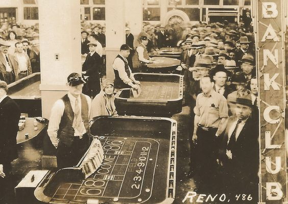 NV Reno Vevada Wide Open Town The Bank Club Casino Gambling Dealers Cards and Craps People at Work RPPC Stamp Box Card 4862
