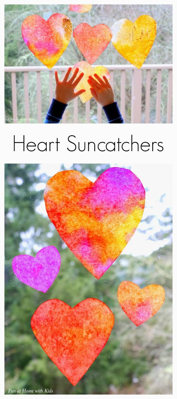 Heart Suncatcher Craft for Toddlers from Fun at Home with Kids