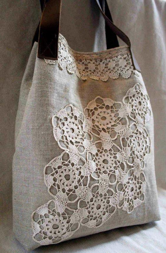 Bolsa linda com crochê: