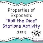 This activity uses half-sheet task cards in six stations, reviewing the following properties:  Product of Powers Property Power of a Power Property...