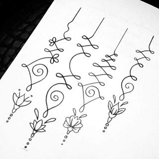 unalome designs - Google Search third unalome with second lotus flower