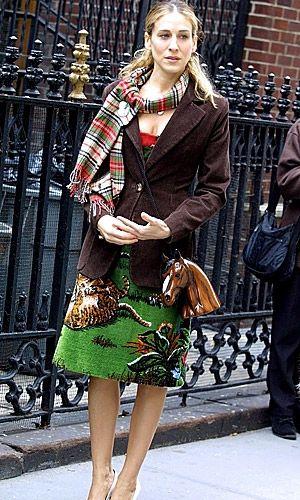 brown jacket - green skirt --- Sarah Jessica Parker - SATC - Carrie Bradshaw - set - sex and the city