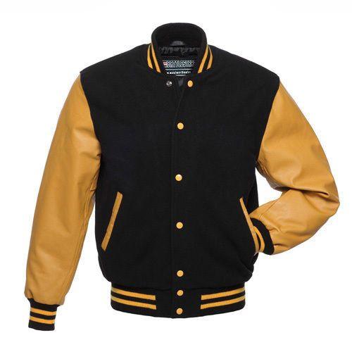 Black Wool Varsity Letterman Bomber Baseball Jacket Gold Yellow Leather Sleeves Batt Leather Varsity Jackets Mens Leather Bomber Jacket Varsity Jacket Outfit