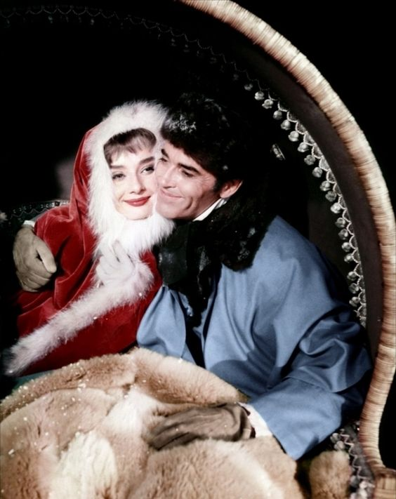 "Audrey Hepburn and Henry Fonda Christmas pic from the film, ""War and Peace"":"