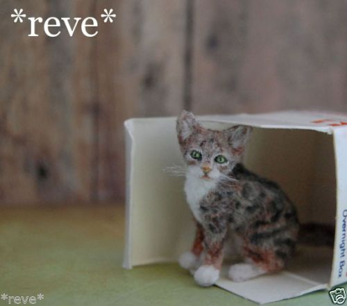 OOAK Realistic Handmade ~ Tortie Cat ~ Miniature Dollhouse 1:12 Sculpture $181.37