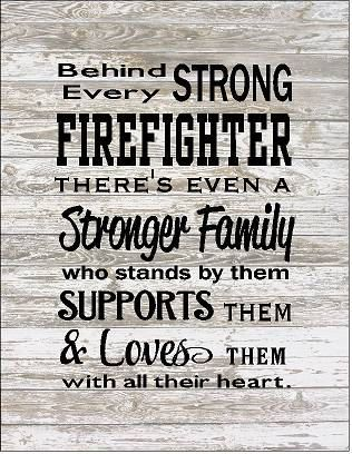 Behind Every Firefighter Family Loves Them Large Wood Sign, Canvas Wall Hanging, or Canvas Banner - Christmas, Father's Day