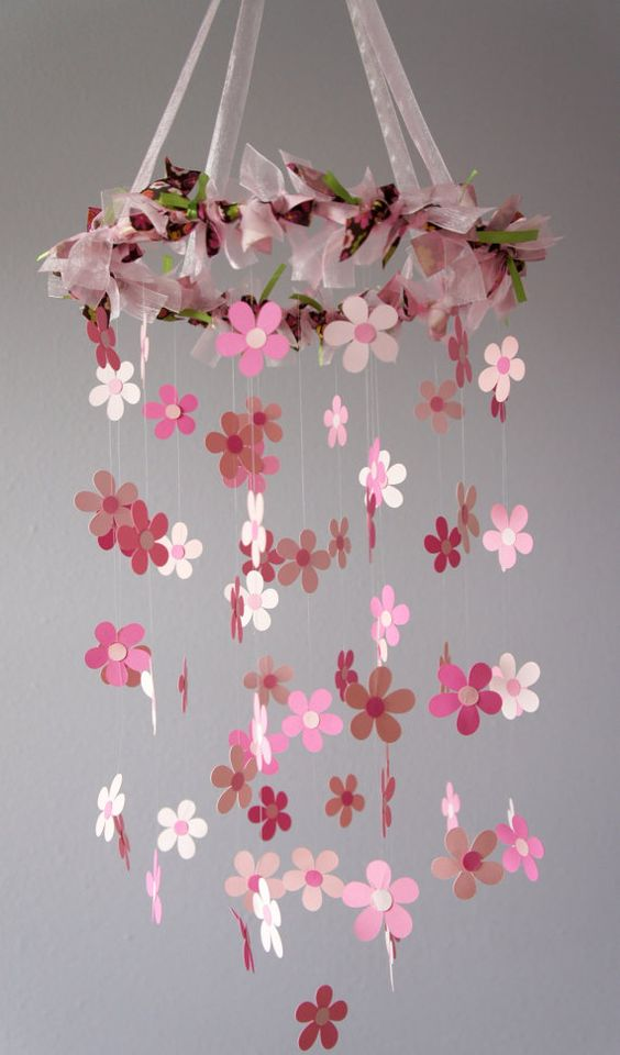 pink flower mobile for baby girl nursery by