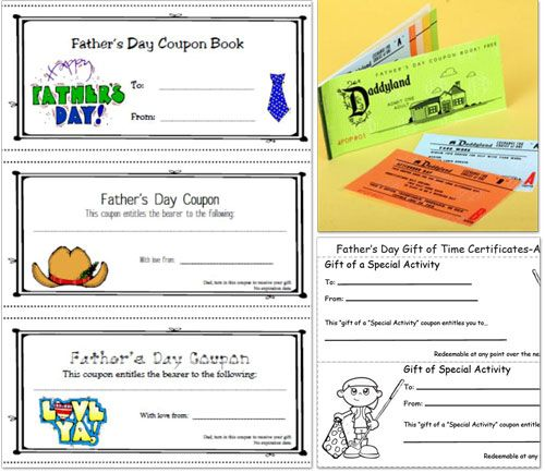 An entire website of handmade Father's Day gift ideas such as these: Printable Coupons