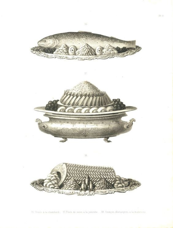 Gourmet Print La Cuisine Classique, Urbain Dubois,  1874 Engraving, Fish Dishes by CarambasVintage on Etsy, $32.00
