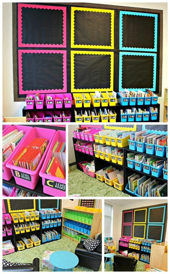 6. Pick decor that pops with a solid black background and neon accent colors. | Community Post: 21 Fresh Classroom Themes Your Students Will Love