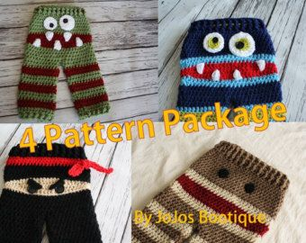 Two PATTERN Package Crochet Baby Pants PATTERNS by JoJosPatterns