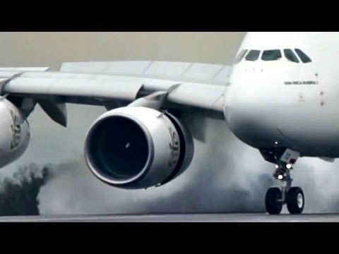 AIRBUS A380 Landing with a BIG SPASH!! MUST WATCH!!!
