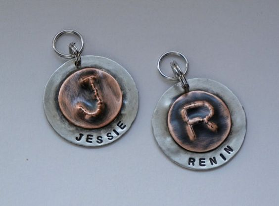 Handcut embossed and stamped initial pet dog id by NeumanStudios, $18.00