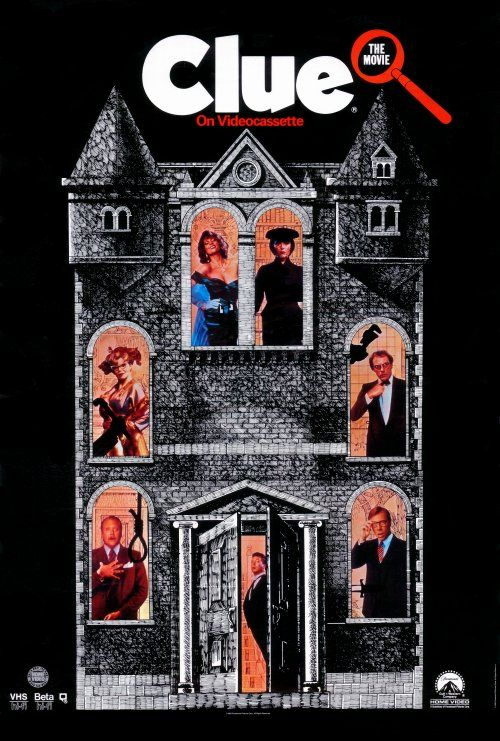 Clue (1985) DVD - Six guests are invited to a strange house and must cooperate with the staff to swolve a murder mystery.  Complete with three different endings.