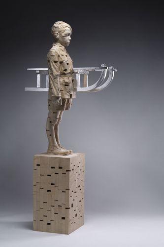 Gehard Demetz - Contemporary Artist - Wood Sculpture - 2009 - First snow in Israel.