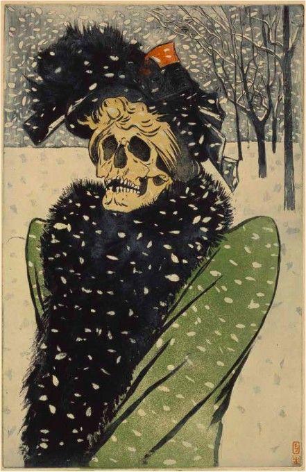 Eugène Delâtre,  En visite ou La Mort en fourrures , eau-forte et aquitaine, vers 1897, BnF
