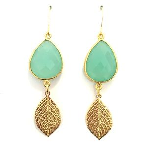 Chalcedony Teardrop and Vermeil Leaf Earrings | Only available at Peyton William. www.peytonwilliam.com