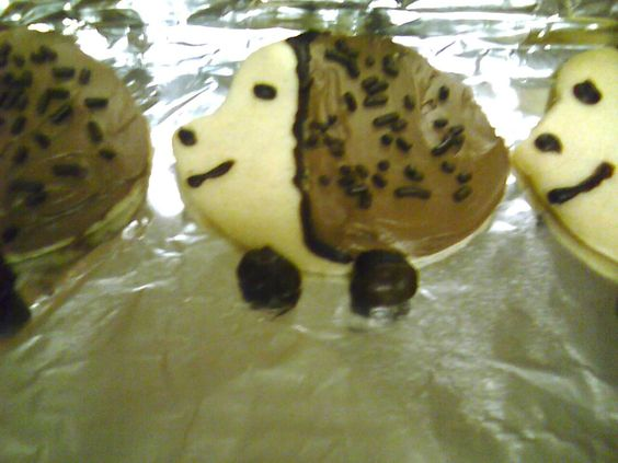 Hedgehog cookies made for a second grade class. I used sugar cookie dough and a football shaped cookie cutter. Cut out a little at the top to make the face shape. Decorated with chocolate icing, sprinkles for the hairs and raisinettes for the feet.