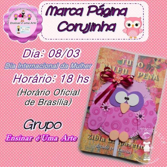 Aula de hoje - Marca Página Corujinha - Prof. Je Artes