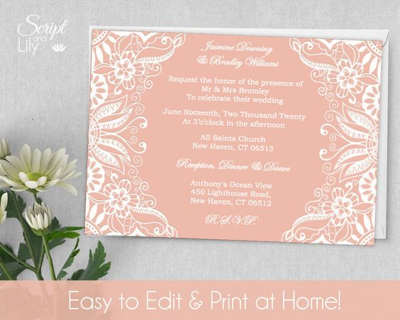 Printable Lace Invitation Template FREE Color Changes – Pages Invitation Templates Free
