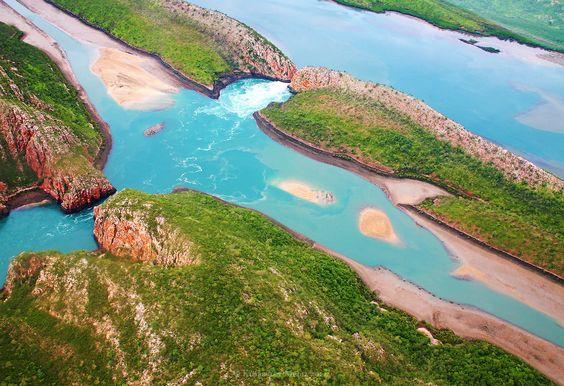 Aerial of the Horizontal Waterfalls in Talbot Bay at low tide, Kimberley coast in the McLarty Range, Western Australia ✯ ωнιмѕу ѕαη∂у