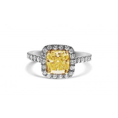 2.66 Ct Cushion Cut  Fancy Yellow Halo Diamond Engagement Ring HD2007