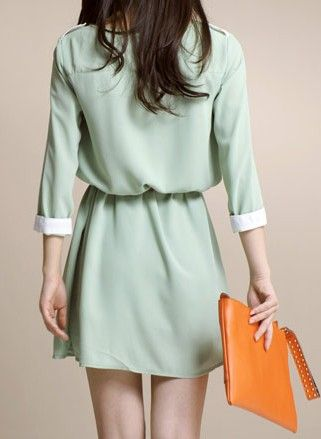 green round neck short sleeve chiffon a-line