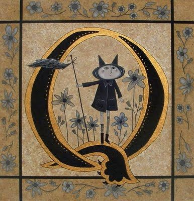 I really like this woman's illustrations.  The illuminated letters are just intriguing as ...Well, they're great.  Her name is Chum McCleod and she lives in Canada.