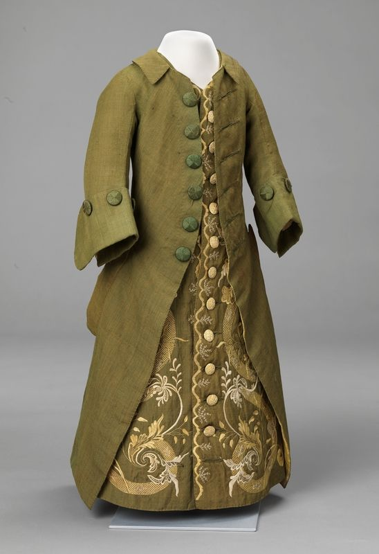 Boy's (?) coat, Norway, c. 1763. Hand woven wool, silk and linen fabrics, plain weave, with silk embroidery.