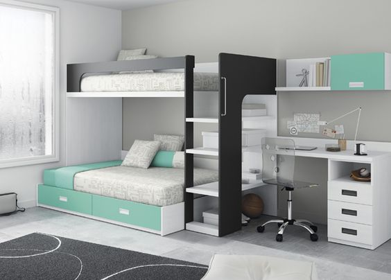 Kids touch 66 litera y escritorio juvenil literas y cama for Habitacion con litera