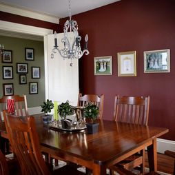 Green with burgundy accent wall dining room pinterest for Burgundy dining room ideas