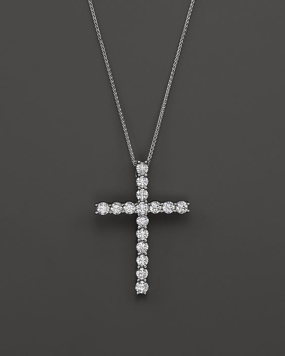 LOVE this, Bloomingdale's Diamond Cross Pendant Necklace in 14K White Gold, 2.50 ct. t.w. on shopstyle.com