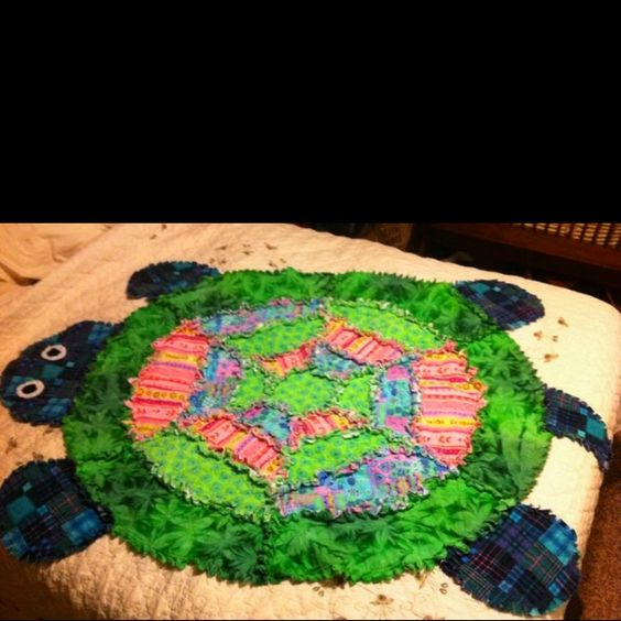 My Daughter's Turtle Rag Quilt I Made From A Simplicity