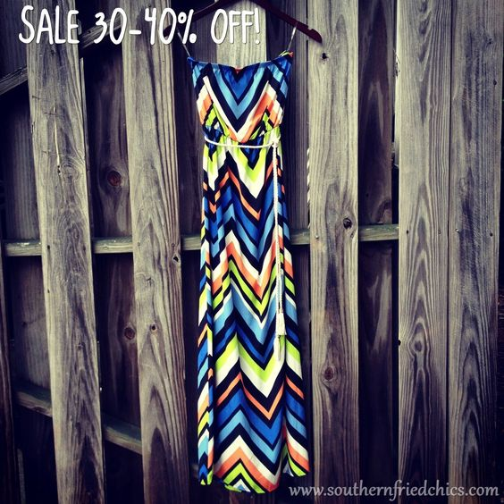 Strapless Chevron Maxi Dress-Blue-Orange-Black-White-Lime-Lt Blue NOW: $34.99!