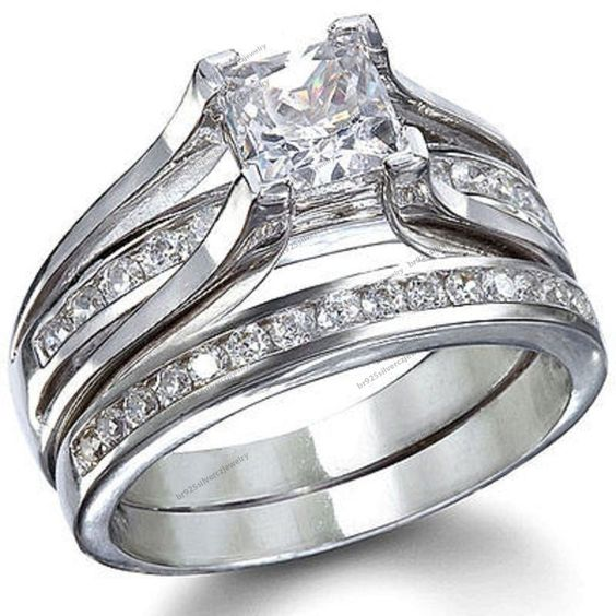 14K White Gold Fn 925 Silver Sim.Diamond Princess & Round Engagement Bridal Ring #br925