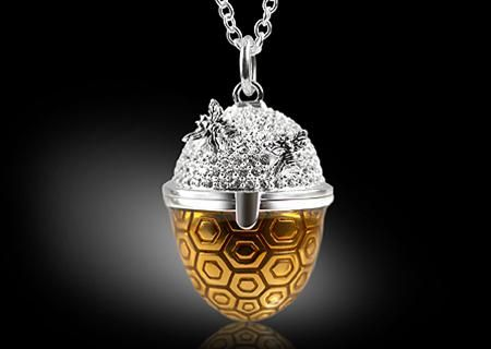Bee Hive Pendant -Bee Hive Pendant  Unique and magical sterling silver Bee Hive Pendant with translucent gold enamel and sterling silver bees, dusted with Swarovski crystals. Exclusively designed for Veritas by Mark Platt.