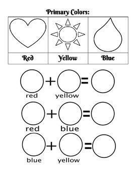 Primary Colors Worksheet Con Imagenes Colores Primarios Y