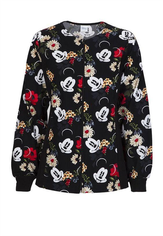 Cherokee Tooniforms Floralista Mickey print scrub jacket | Scrubs and Beyond