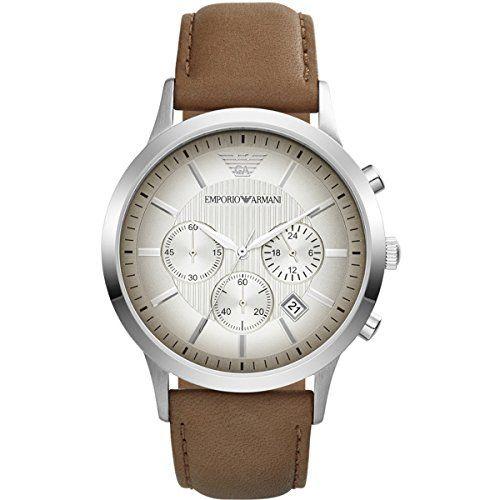 Emporio Armani Herren-Armbanduhr Chronograph Quarz Leder AR2471 - http://uhr.haus/emporio-armani/emporio-armani-herren-armbanduhr-xl-chronograph