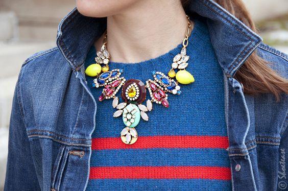 Street Style – Double Denim & Bright Stripes: J.Crew necklace & sweater. Gap denim jacket