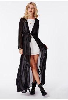 Periana Long Sleeve Maxi Kimono Black