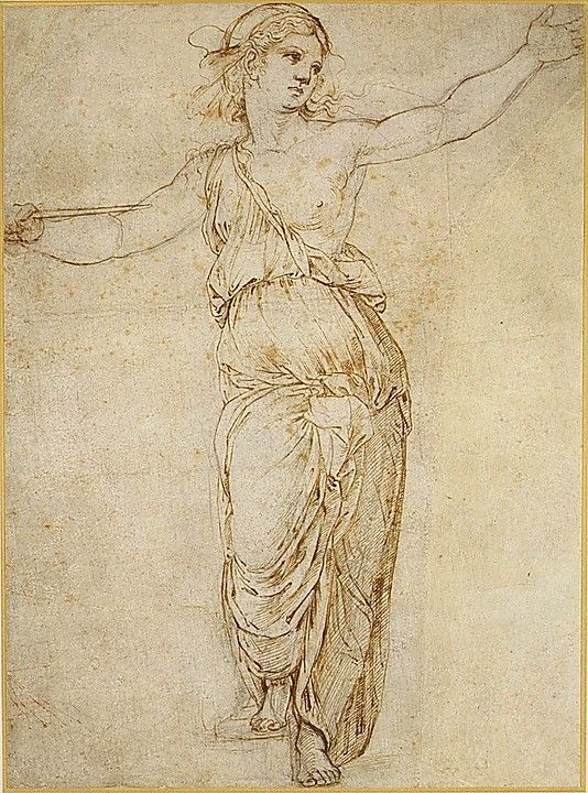 Lucretia; Raphael; 1483-1520; pen and brown ink over black chalk, partially incised with stylus, rubbed with black chalk for transfer?