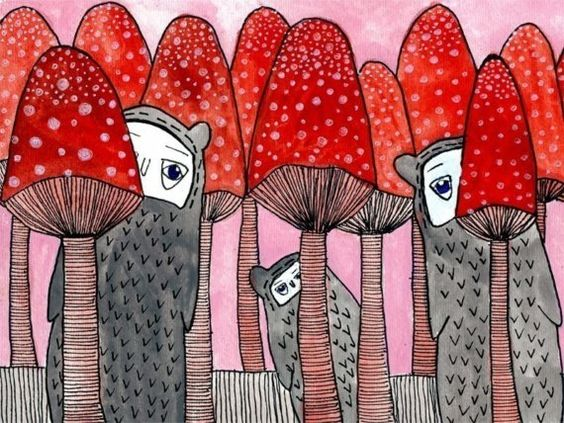 Mushroom City Print. #etsy