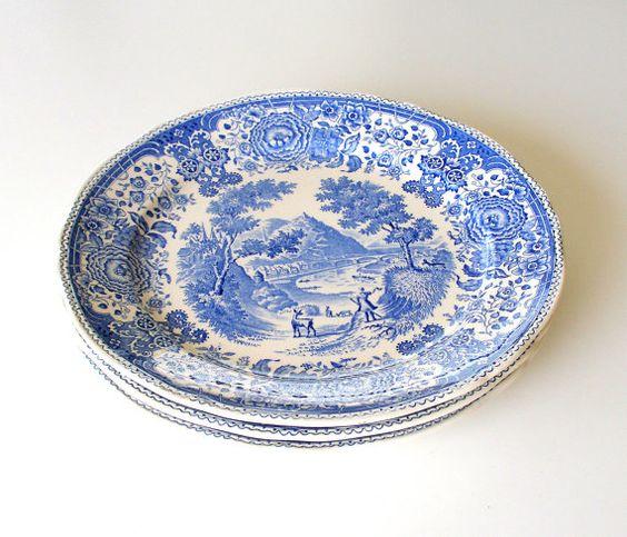 Villeroy u0026 Boch Antique Dinner Plates. Burgenland Blue. Germany. 1900 -  1909.
