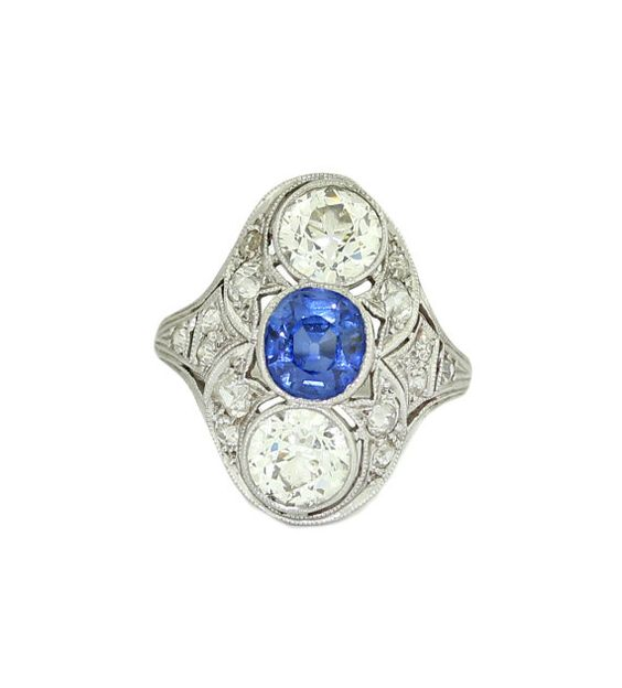 Antique Vintage Art Deco Platinum Sapphire Diamond Engagement Ring